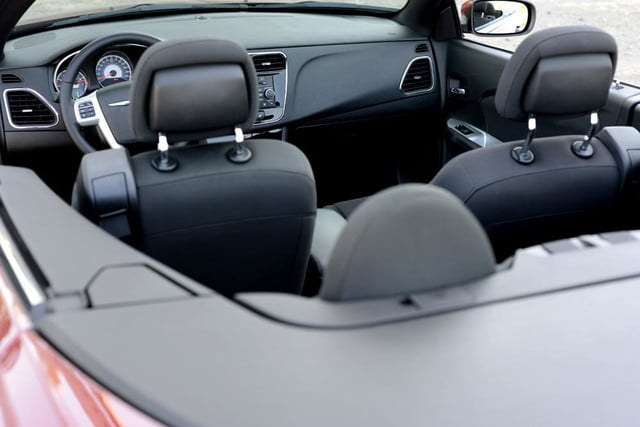 2012 chrysler 200 touring convertible review interior back angle