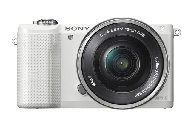 sony alpha a5000 mirrorless interchangeable lens camera photos wselp1650 front white