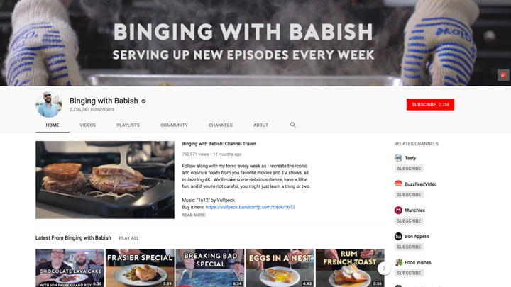 best youtube channels binging with babish