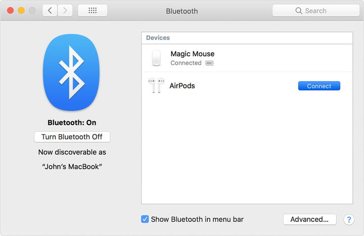 Conecte Bluetooth AirPods en Mac