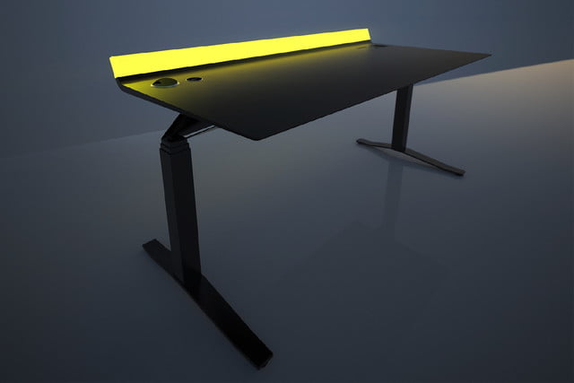 feature packed aerodesk standing desk 1600 yellow pro