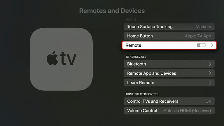 Apple TV settings Select Remote control