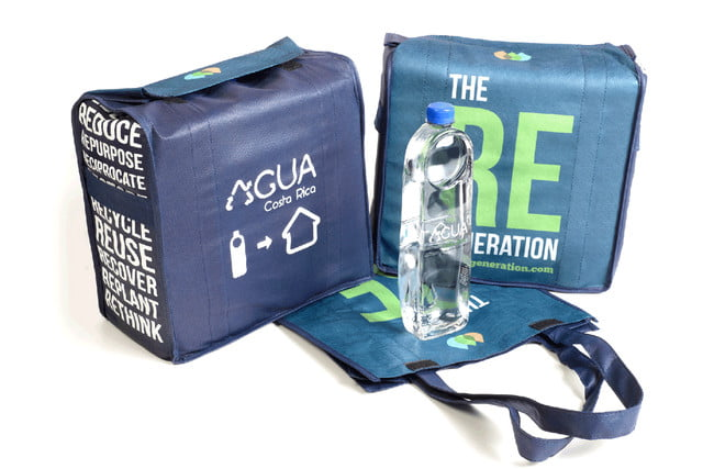 agua water bottles were designed to become roof tiles crdc costa rica bag