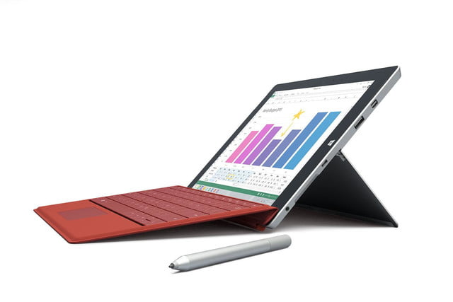 Microsoft Surface 3 red pen front angle left