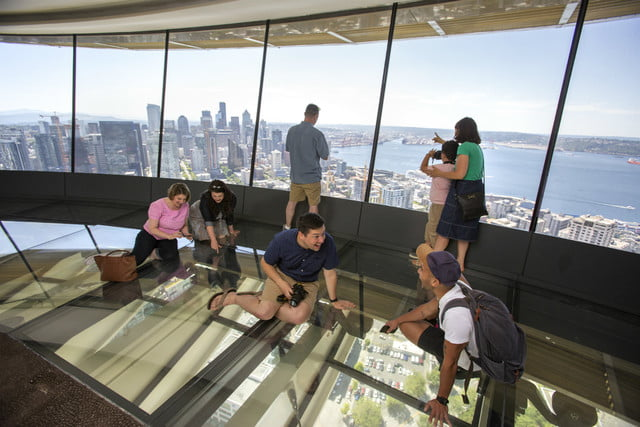seattle space needle now has a revolving glass floor 7