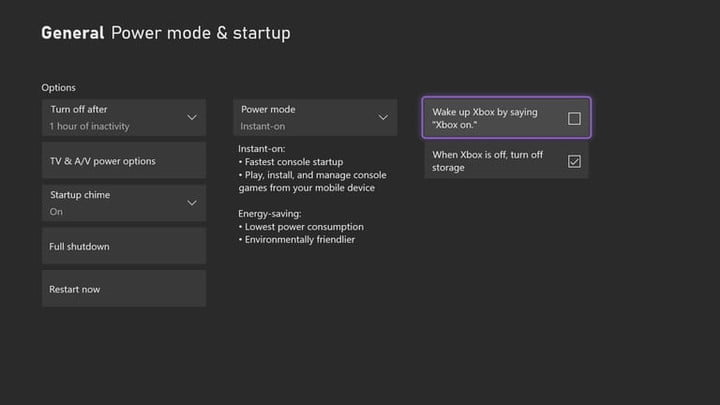 start up and power settings on xbox series x