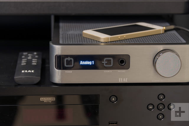 Elac Integrated Amplifier review phone scale