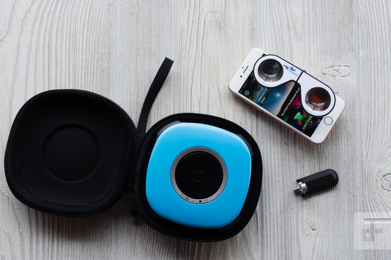 Vuze Camera with case and an iPhone