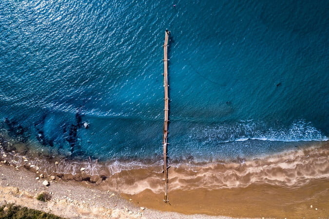 best drone photos wooden path