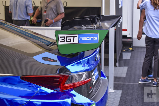Side shot of the spoilers on the Lexus RC F GT3