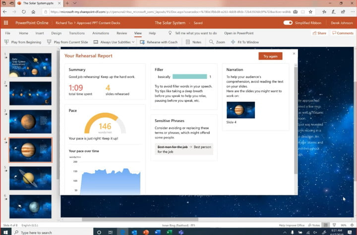 微软powerpoint ai office 365教练报告
