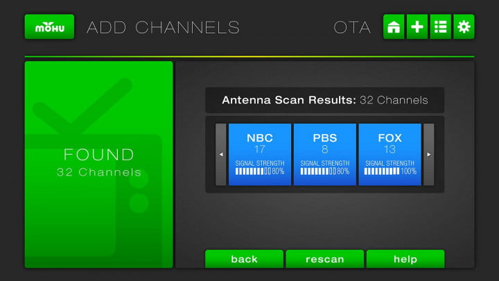 Mohu Channels UI Signal Strength