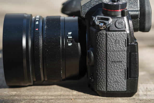 Panasonic Lumix G9 Review | View of the camera from the side showing off plug ins