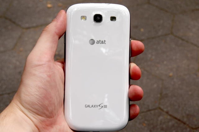 Samsung Galaxy S3 review in hand white back camera flash