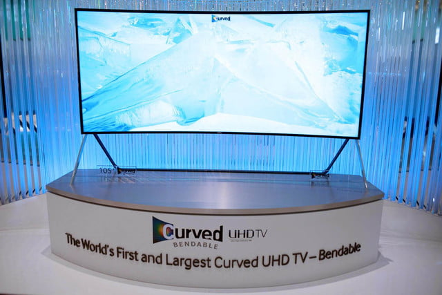 samsungs massive bending 4k tv flexes flat curved right front face samsung 19