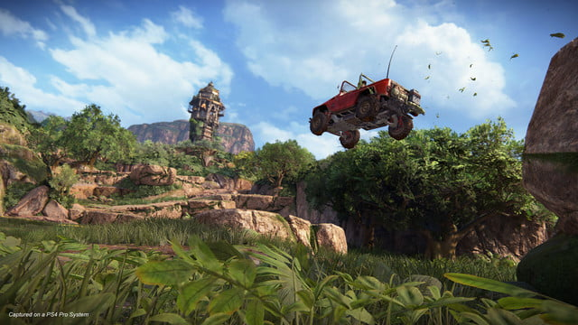 Uncharted: The Lost Legacy Nadine and Chloe launching their humvee off an incline