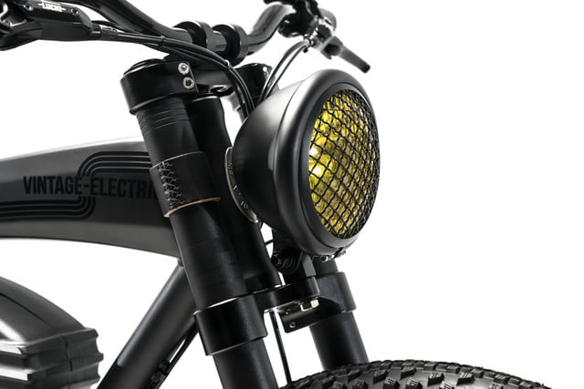 vintage electric scrambler s ebike black headlight off